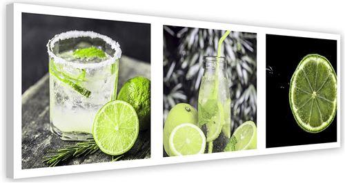 Tableau moderne Toile murale Cadre Image décorative Canevas Set Boisson Citron vert 150x50