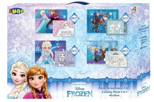Luna puzzle couleur 4 en 1 Filles congelées 40 x 30 cm 4 pièces