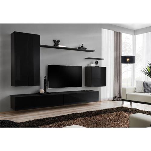 Ensemble meuble salon SWITCH II design, coloris noir brillant.
