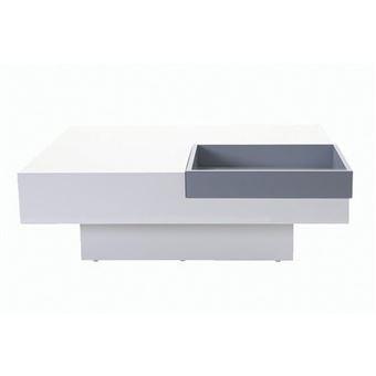 30 Sur Table Basse Design Laquee Blanche Plateau Gris Amovible