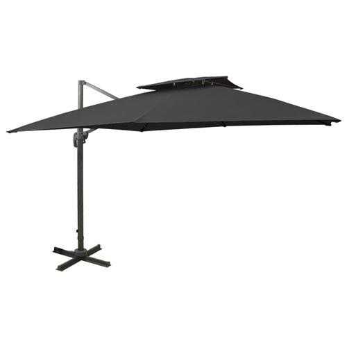vidaXL Parasol déporté à double toit 300x300 cm Noir
