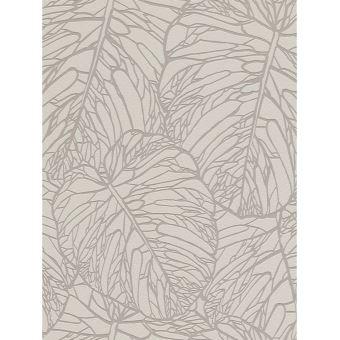 Papier Peint De Modele De Feuille Gris Pale Et Argent Rasch 609332