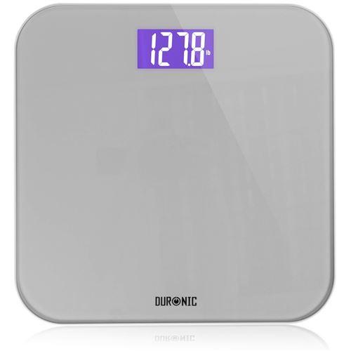 Duronic BS603 Balance Corporelle / Pèse Personne Capacité élevée de 180kg Ecran LCD éclairé lisible Verre renforcé gris Mesure en kilogrammes Automatique 4 Capteurs Surveillez votre poids