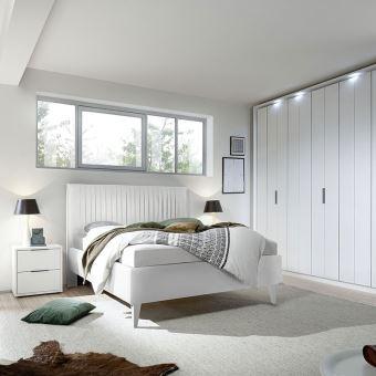 Chambre à coucher blanc laqué mat VENISE - L 180 x P 200 cm