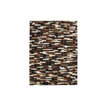 PATCHWORK Tapis de salon - Cuir - 120x170 cm - Motif lignes - Marron ...