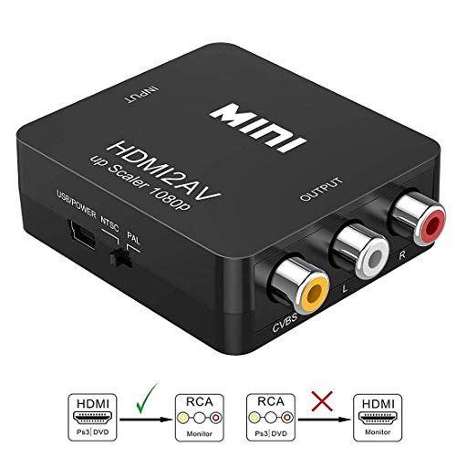 Convertisseur HDMI vers AV, Asbter HDMI vers RCA AV/CVSB L/R Vidéo 1080P HDMI2AV Prise en Charge NTS