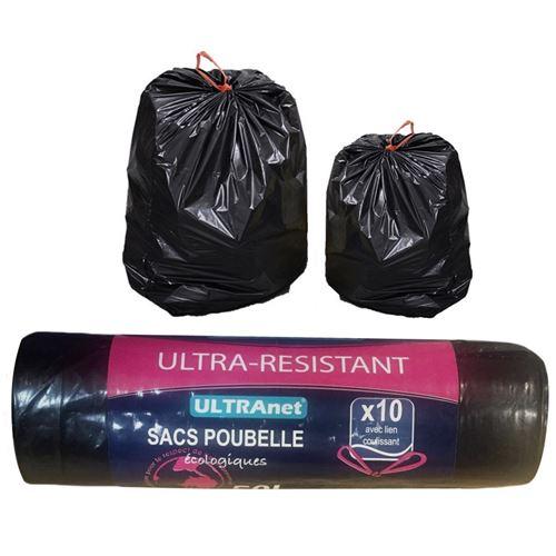 Pack 10 sacs poubelle 50l avec lien coulissant anti fuite ecologique menage