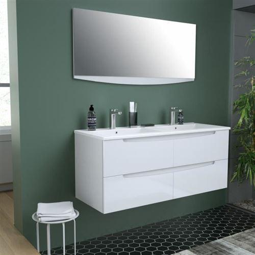 Smile Salle De Bain Double Vasque + Miroir L 120 Cm - 4 Tiroirs A Fermeture Ralenties - Blanc