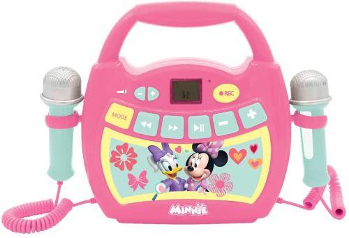 Lexibook- Disney Minnie, Mon Premier Lecteur Musical karaoké avec micros, sans Fil, Fonctions Enregistrement et Changement de Voix, pour Enfant, Rose/Vert, MP300MNZ