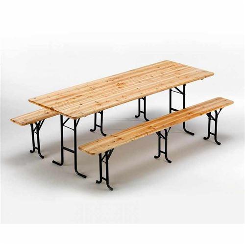 Table de brasserie bancs en bois 3 jambes pliant ensemble 220 x 80 10 pcs