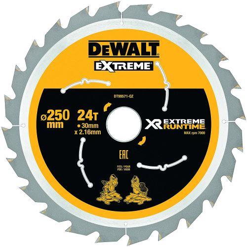 DeWalt XR Extreme Runtime Lame de scie circulaire statique, 1 pièce, 250/30 mm 24 WZ/FZ, dt99571 de QZ
