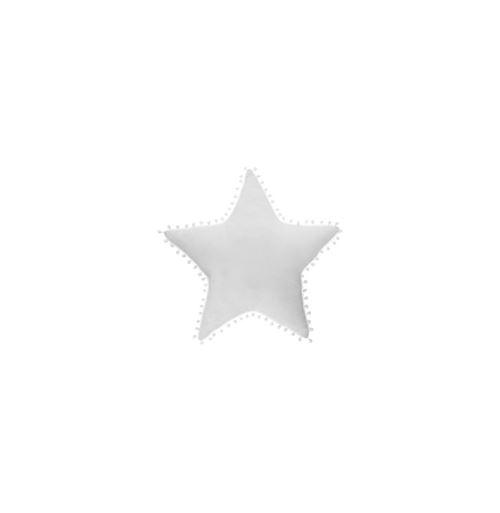 Coussin à pompons forme étoile - 50 x 50 cm - Blanc