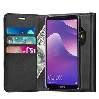 Huawei Y6 2018 Housse Coque Etui cuir veritable de luxe Portefeuille Porte Carte Et Billet (avec bequille) Noir
