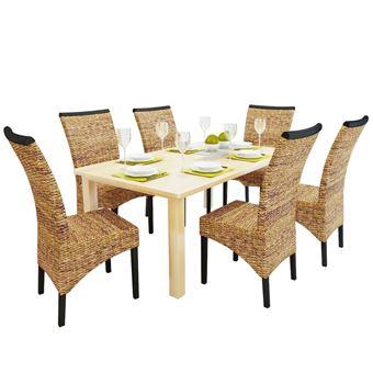 vidaXL Chaises de salle à manger Abaca marron 6 pièces