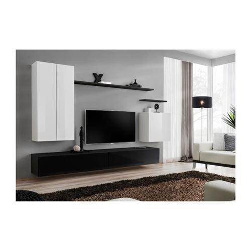 Ensemble meuble salon SWITCH II design, coloris noir et blanc brillant.