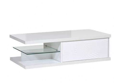 Table basse ECLIPSE - MDF Laqué blanc - 1 tiroir & 2 niches