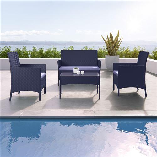 IMS Garden - IMORA - Salon de jardin résine tressée Noir/Gris - ensemble 4 places - Canapé + Fauteuil + Table