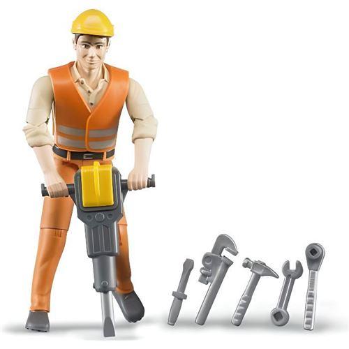 bruder - figurine ouvrier avec accessoires de chantier