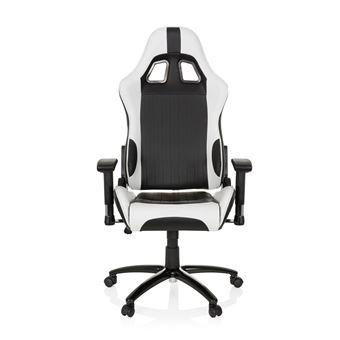 Chaise Gaming Chaise de bureau siège baquet simili cuir MONACO II noir blanc hjh OFFICE