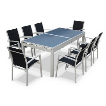 Salon de jardin 8 fauteuils tableà rallonge auto extensible 200 ...