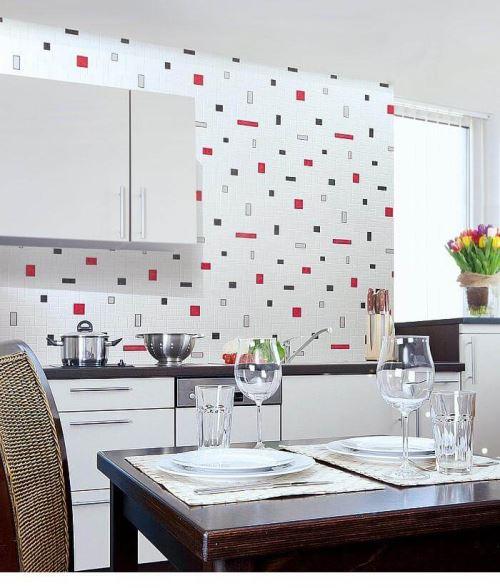 Papier Peint Vinyle Tres Resistant Edem 584 26 Aspect Carrelage Decoratif Mosaique Cuisine Bain Blanc Noir Gris Rouge