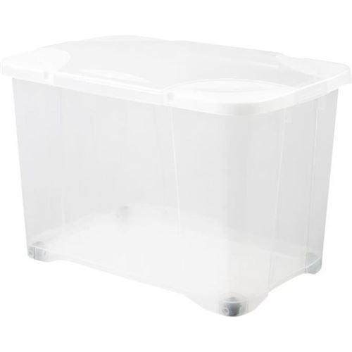 eda plastique boîte de rangement clip'box 60 l avec roulette - naturel couvercle avec charniere - 60 x 40 x 40,7 cm