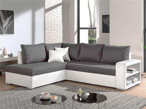 Athena - Canapé d'angle convertible - avec coffre et étagère - en simili et tissu - Gauche Couleur - Blanc / Gris