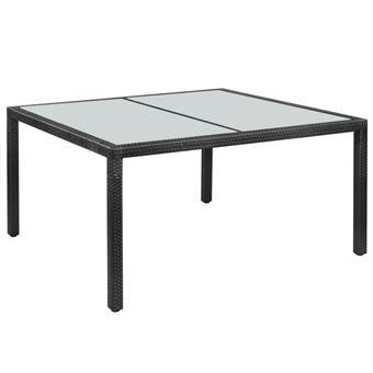 vidaXL Table de jardin Résine tressée 150 x 90 x 75 cm Noir