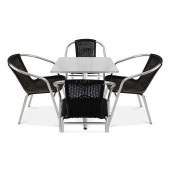 Table de jardin carrée et 4 fauteuils en alu - Noir ...