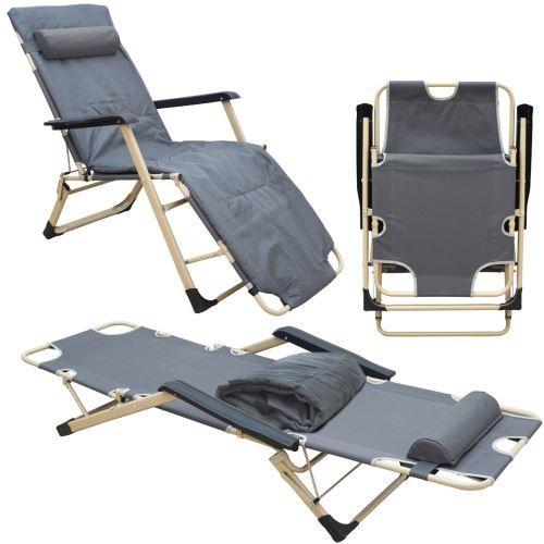 AMANKA Chaise Longue pliante Transat pliant 178cm en acier poids supporté 150kg appuie-tête et couss