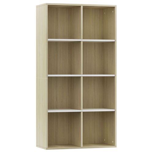 vidaXL Bibliothèque/Buffet Blanc et chêne sonoma 66x30x130cm Aggloméré