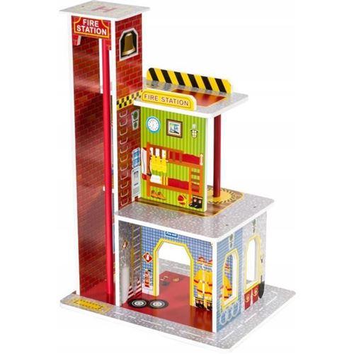 Dodo Toys Caserne de Pompiers en Bois avec Piste d'Atterrissage 60 x 40 x 30 CM, 4 Etages , Accessoires, Tuyau d'évacuation