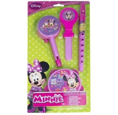 Disney Minnie Mouse - Set Musical - 4 Instruments de Musique - tambour, flûte, tambourin, castagnette