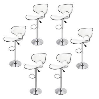 PERFECT Lot de 6 tabourets de bar chaise haute design réglable synthétique blanc