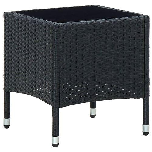 Table de jardin 40x40x45 cm Résine tressée Noir