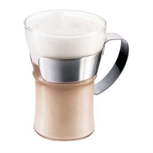 Bodum - Set 2 verres à café, avec anse en inox brillant, 0.35 l