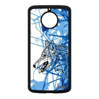 Coque Silicone Motorola Moto E4 Plus Loup Nature Fleur Noir