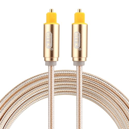 (#26) EMK 1.5m OD4.0mm Gold Plated Metal Head Woven Line Toslink Male to Male Digital Optical Audio