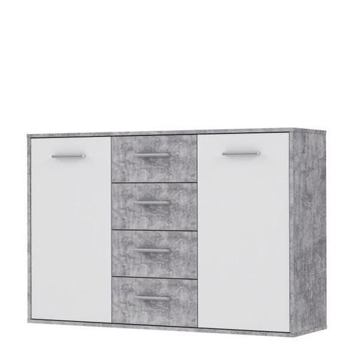 PILVI Buffet bas 2 portes 4 tiroirs - Blanc et beton gris clair - L 122,6 x P 34,2 H 88,1 cm