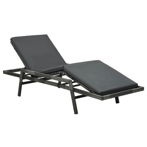 Chaise longue avec coussin Résine tressée Gris 48147