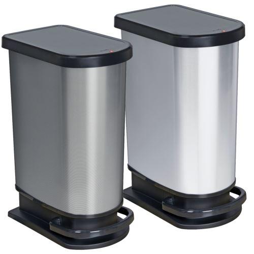 ROTHO Poubelle à pédale PASO 50 litres argent métallisé | Poubelle pour une élimination facile des déchets