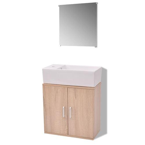 vidaXL Meubles de salle bains trois pièces Beige