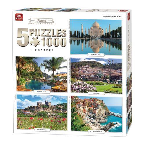 Puzzles de 1000 pièces : 5 puzzles : voyages king puzzles