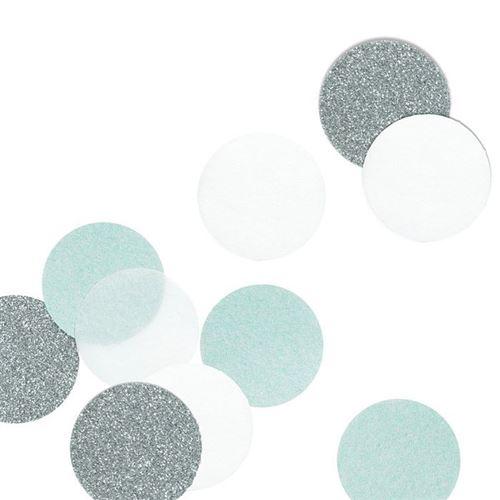30 confettis argent et bleu menthe