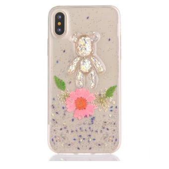 coque iphone x fleur rose