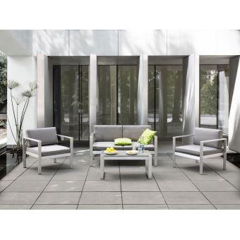 95€01 sur Beliani - Salon de jardin en aluminium coussin en tissu ...