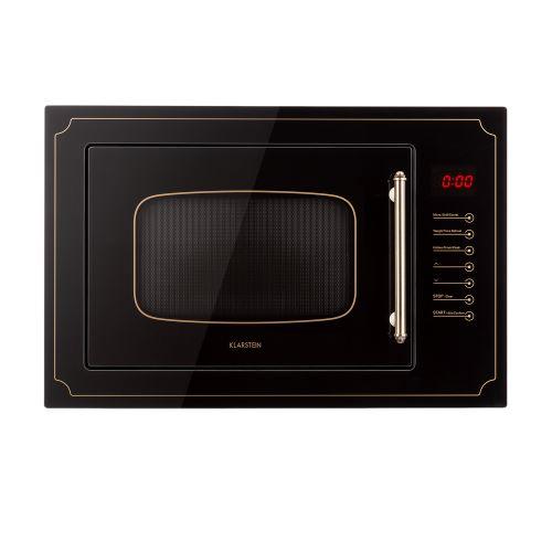 Klarstein Victoria 25 Four micro-ondes encastrable 25 litres 900W - Grill 1000W - Fonction décongélation - Look rétro noir