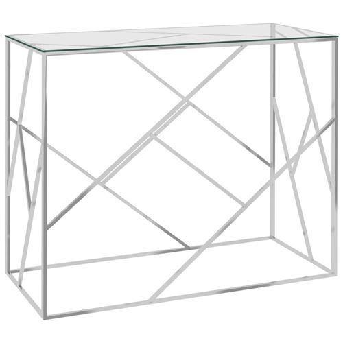 Table d'appoint en Acier inoxydable et verre 90x40x75cm