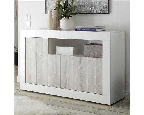 Buffet 140 cm couleur pin et blanc laqué moderne MABEL 3-L 138 x P 42 x H 86 cm- Blanc