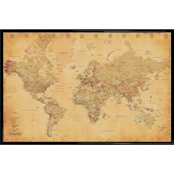 poster encadr cartes carte du monde style r tro en. Black Bedroom Furniture Sets. Home Design Ideas